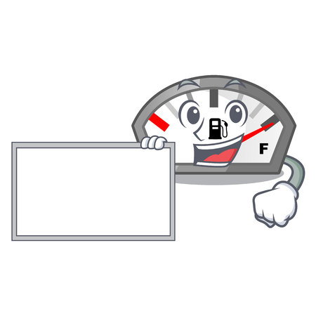 With board gasoline indicator in the character shape vecetor illustration