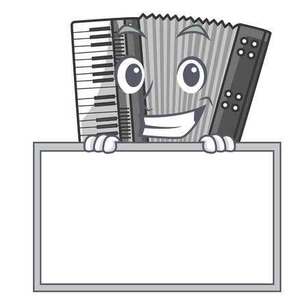 Grinning with board according cartoons in the music room vector illustration