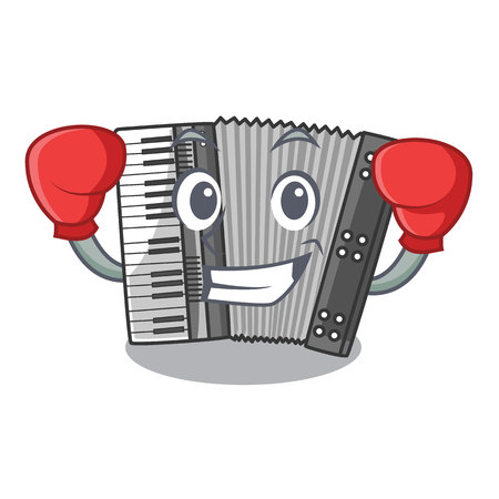Boxing according cartoons in the music room vector illustration