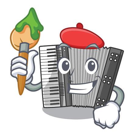 Artist according cartoons in the music room vector illustration