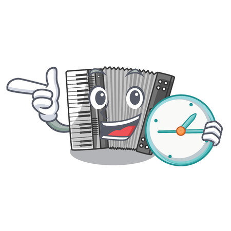 With clock according in the shape character wood vector illustration Stock Vector - 124849869