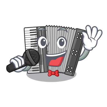 Singing miniature accrodion in the shape mascot vector illustrattion Illustration