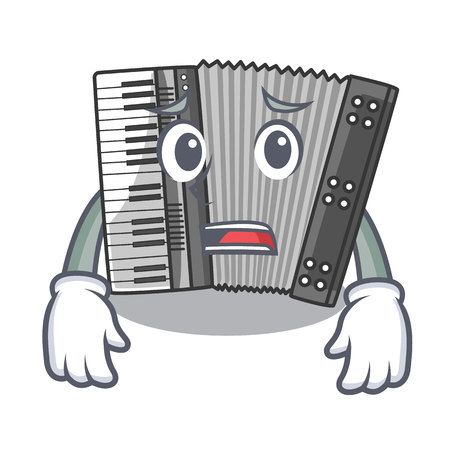 Afraid miniature accrodion in the shape mascot vector illustrattion