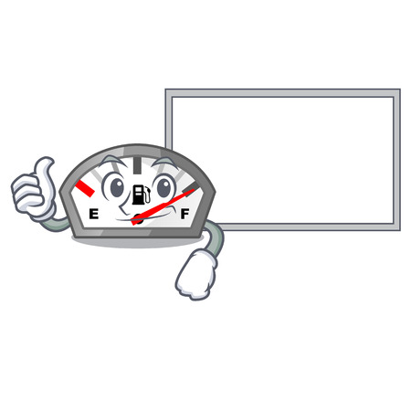 Thumbs up with board gasoline indicator in the character shape vecetor illustration