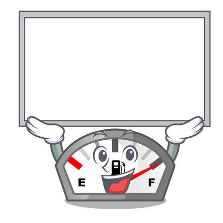 Up board gasoline indicator in the character shape vecetor illustration