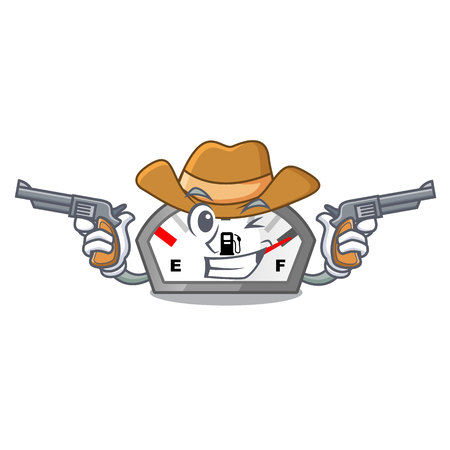 Cowboy gasoline indicator in the character shape 向量圖像