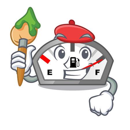 Artist gasoline indicator in the character shape vecetor illustration