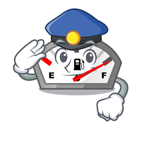 Police gasoline indicator in the character shape vecetor illustration