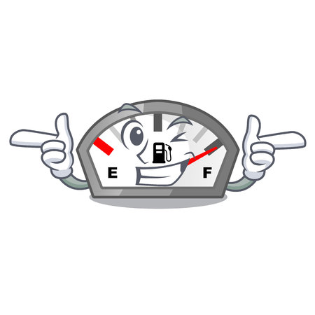 Wink gasoline indicator isolated with in cartoon vector illustration Illustration