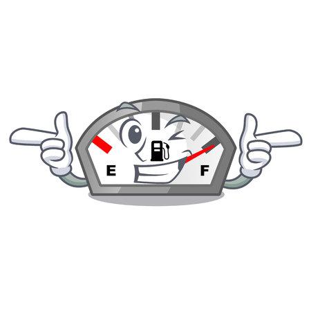 Wink gasoline indicator isolated with in cartoon vector illustration Ilustração