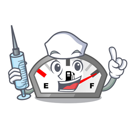 Nurse gasoline indicator isolated with in cartoon