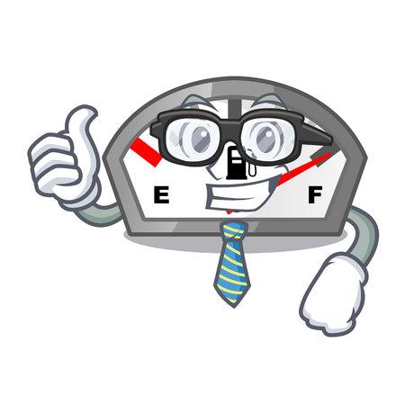 Businessman gasoline indicator isolated with in cartoon vector illustration Ilustração