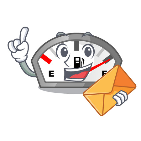 With envelope gasoline indicator isolated with in cartoon