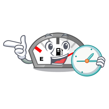 With clock gasoline indicator isolated with in cartoon vector illustration
