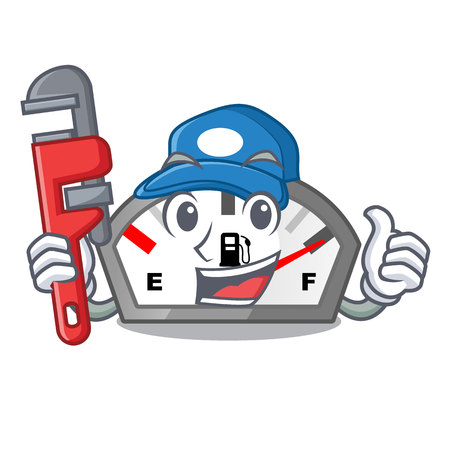 Plumber gasoline indicator in the a mascot vector illustration