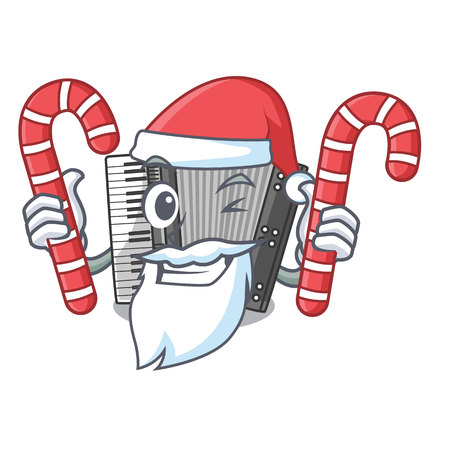 Santa with candy accordion isolated with in the character vector illustration
