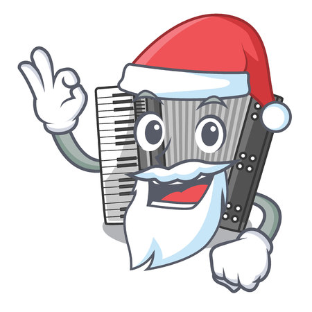 Santa accordion isolated with in the character vector illustration