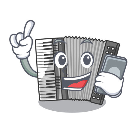 With phone according cartoons in the music room vector illustration