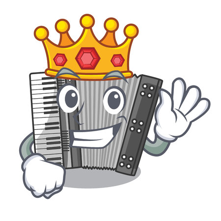King accordion isolated with in the character vector illustration