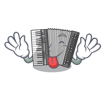 Tongue out accordion isolated with in the character vector illustration
