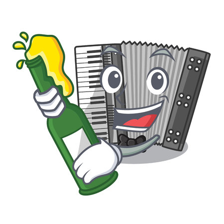 With beer accordion isolated with in the character vector illustration