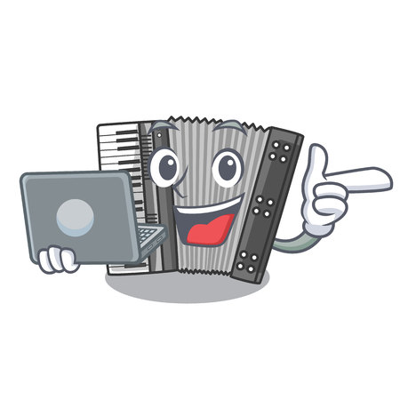 With laptop according cartoons in the music room vector illustration