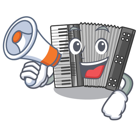 With megaphone according cartoons in the music room vector illustration