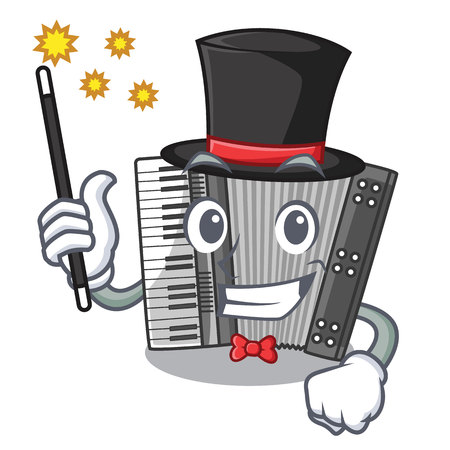 Magician accordion isolated with in the character vector illustration Stock Vector - 124850588