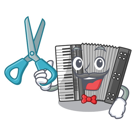 Barber according cartoons in the music room vector illustration