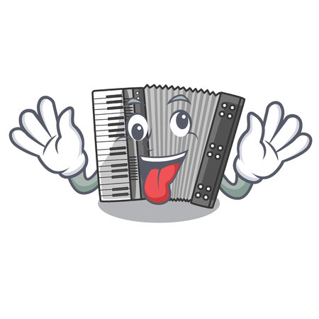 Crazy accordion isolated with in the character vector illustration