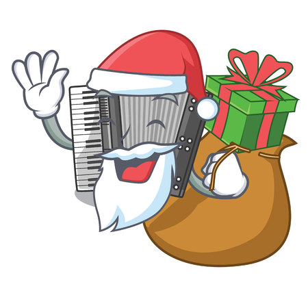 Santa with gift accordion isolated with in the character vector illustration