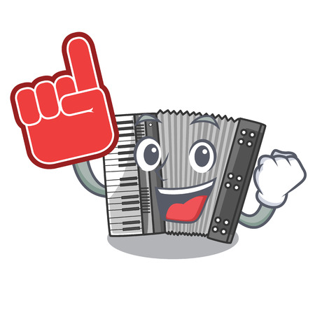 Foam finger accordion isolated with in the character vector illustration