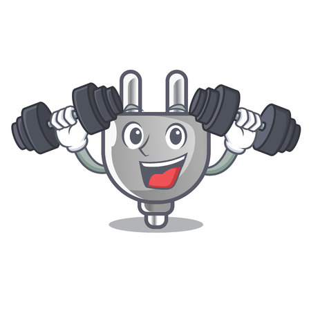 Fitness power plug stuck the cartoon wall vector illustration