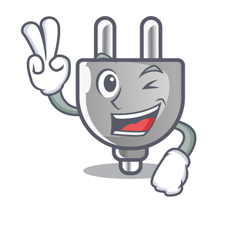 Two finger power plug in the character shape vector illustration 矢量图像