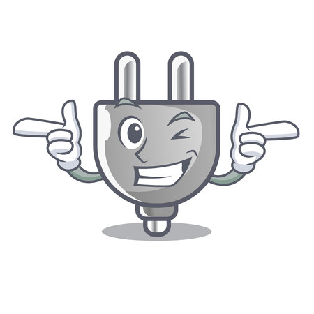 Wink power plug in the character shape vector illustration
