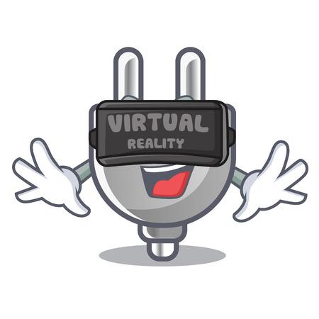 Virtual reality isolated power plug in the mascot vector illustration Ilustração