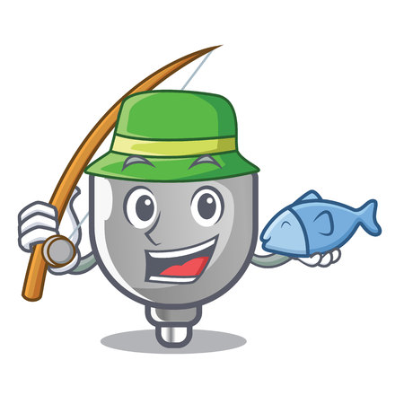 Fishing isolated power plug in the mascot vector illustration