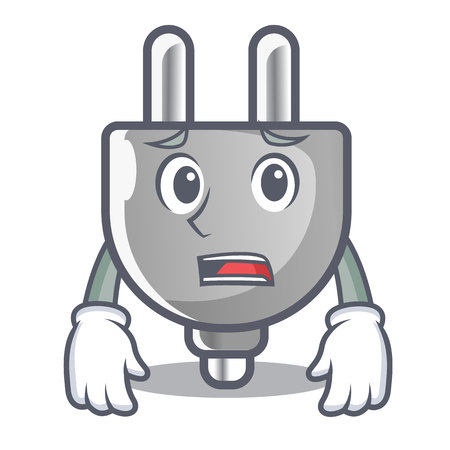 Afraid isolated power plug in the mascot 矢量图像
