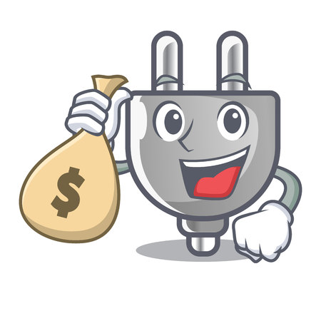 With money bag power plug stuck the cartoon wall vector illustration  イラスト・ベクター素材