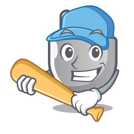 Playing baseball power plug stuck the cartoon wall vector illustration