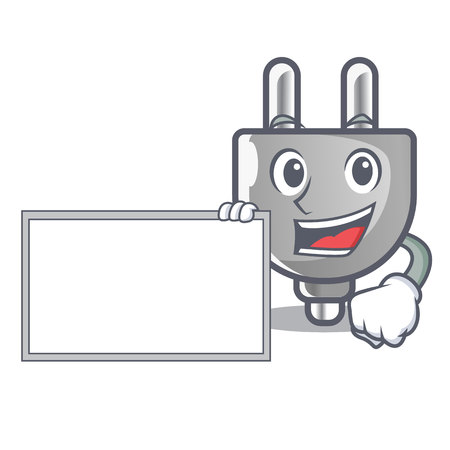 With board power plug stuck the cartoon wall vector illustration
