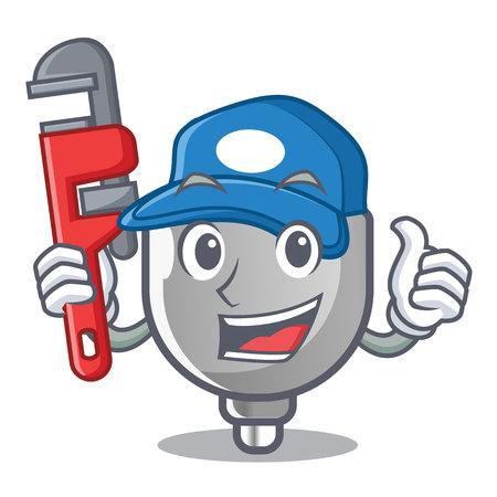 Plumber miniature electric plug the shape cartoon vector illustration