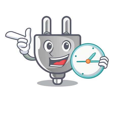 With clock power plug in the character shape vector illustration