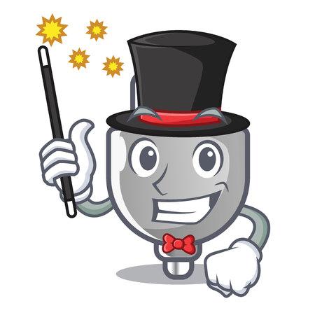 Magician miniature electric plug the shape cartoon vector illustration Imagens - 124817603
