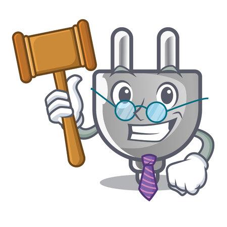 Judge miniature electric plug the shape cartoon vector illustration