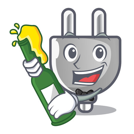 With beer miniature electric plug the shape cartoon vector illustration Vectores