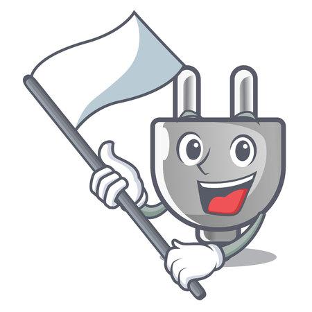 With flag miniature electric plug the shape cartoon vector illustration Imagens - 124817609