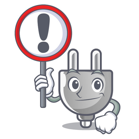 With sign power plug stuck the cartoon wall vector illustration