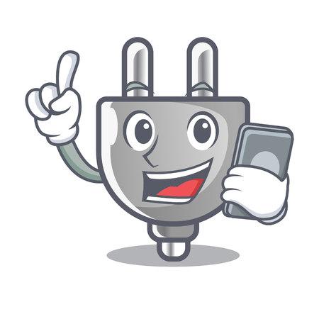 With phone power plug stuck the cartoon wall vector illustration