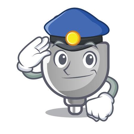 Police power plug stuck the cartoon wall vector illustration Фото со стока - 117849315